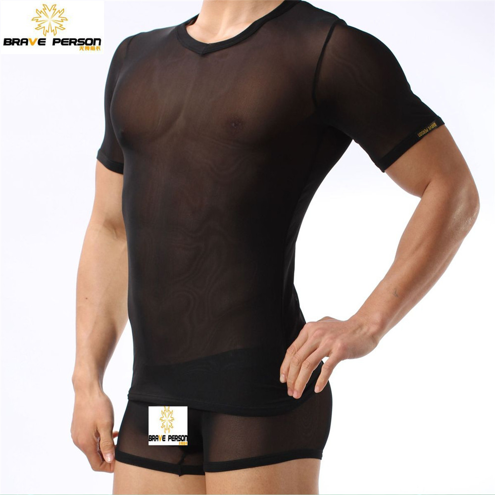 BRAVE PERSON Sexy Men's Tops Tees Bodybuilding Fitness Tshirts Ultra Thin Transparent Mesh Men Gym Beach Surf Sport T Shirts(China (Mainland))
