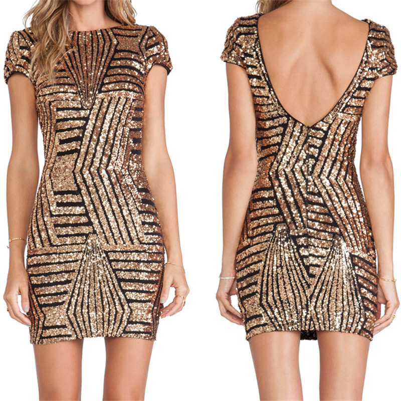 Gold Sequin Dress Women Bodycon Silver Short Sleeve Summer Sexy Backless Fashion Female Clothing Slim Party Club Wear 2016(China (Mainland))