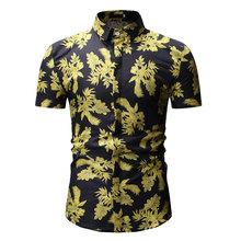 Мужские повседневные рубашки с коротким рукавом, отложным воротником, рубашки на пуговицах, гавайская рубашка с цветочным принтом, тонкие т...(China)