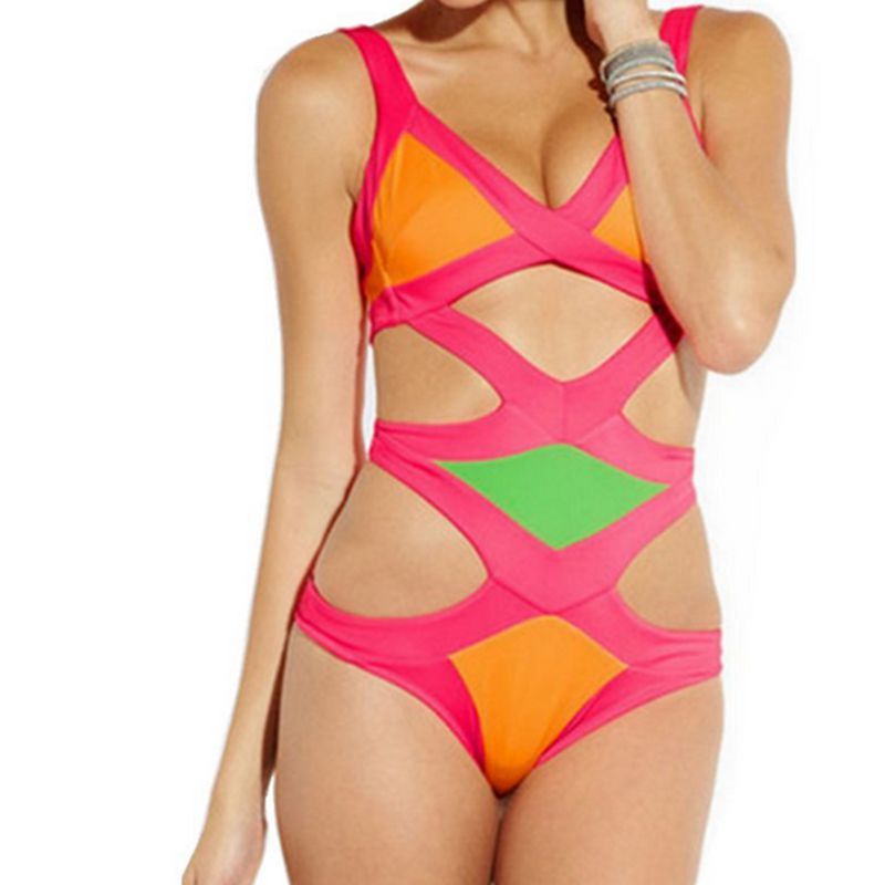 2016 new Sexy bandage piece swimsuit multicolor mosaic of ...