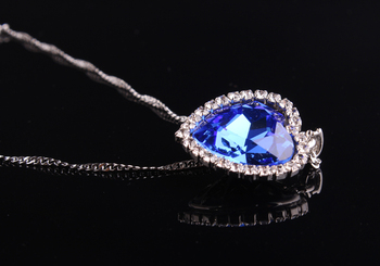 Blue Ocean Heart Pendant Necklace