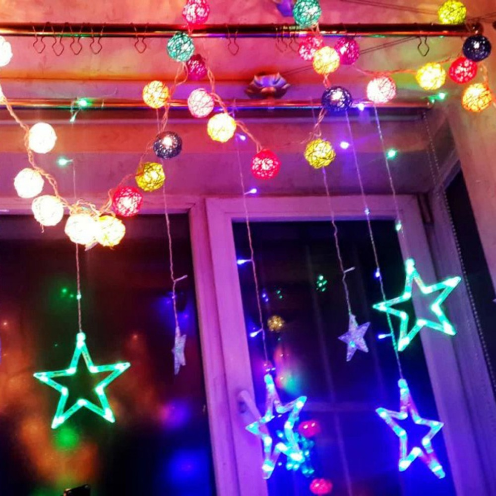 Five pointed star multi color led curtain fairy string for 6 star window christmas decoration lights