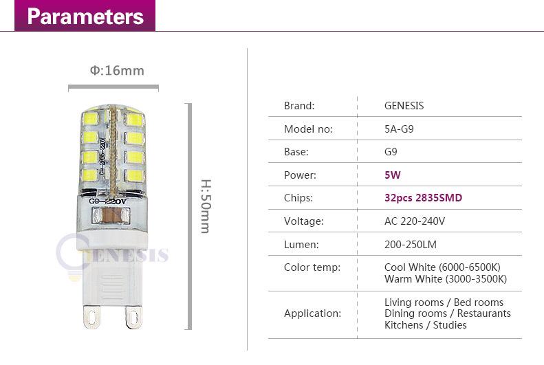 10pcs High Power SMD3014 6W 220V G9 LED Lamp Replace 30W halogen lamp 360 Beam Angle LED Bulb lamp warranty  Free Shipping