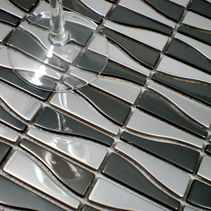 Mosaik fliesen silber schwarz edelstahl fliesen küche backsplash ...