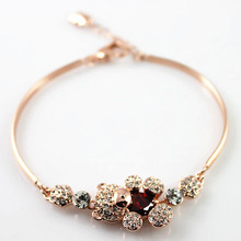 RED Heart Crystal Bear 18K Rose Gold Plated Bracelet Made with Genuine Austrian Crystals bracelets(China (Mainland))
