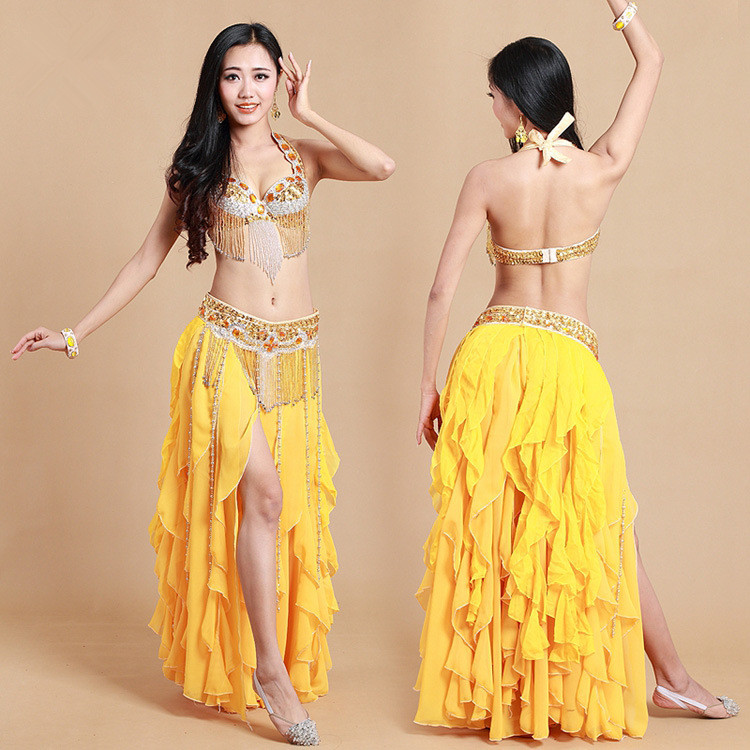 Adult classy beaded yellow belly dance costumes set India dance practice performance costumes dress suit 2 peices /3 pieces(China (Mainland))