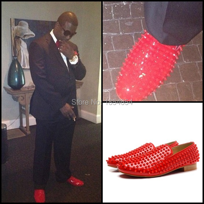 christian louboutin mens shoes spikes - Aliexpress.com : Buy Inspired Brand Men Red Patent Leather Flated ...