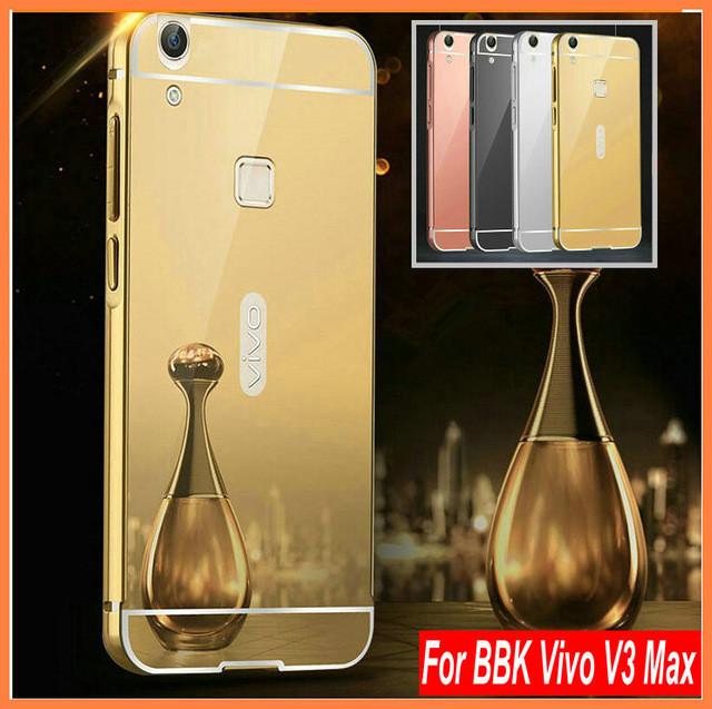 Mirror Aluminum Phone Case For BBK Vivo V3 max Anti-knock Luxury Metal Frame Ultra Slim Acrylic Back Cover For Vivo V3max(China (Mainland))