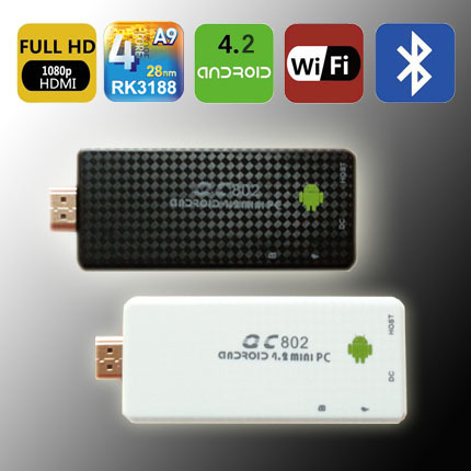QC802 - Quadcore CPU 1.6GHz 2G RAM+8G Nand Android4.2 Quad Core Rockchip RK3188 Smart TV Dongle Android Home store