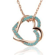 New 2014 Austrian Crystal 18K Gold and Silver Plated Double Heart Necklaces Pendants Wedding Fashion Jewelry