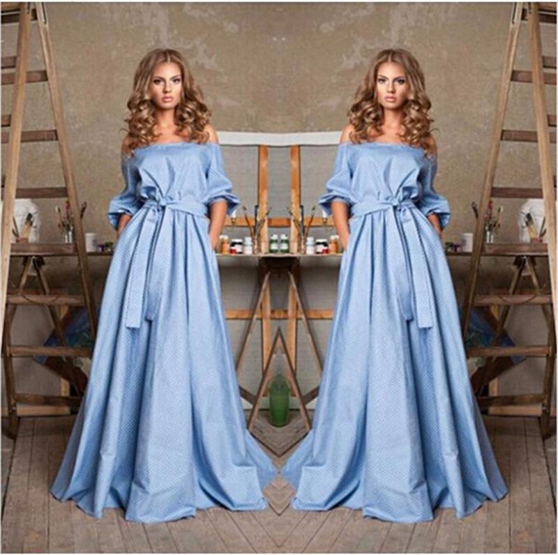 2015 Fashion Women Long Maxi Dress Cute Blue Strapless Off the Shoulder Half Sleeve Sashes Straight Dresses robe longue femme(China (Mainland))