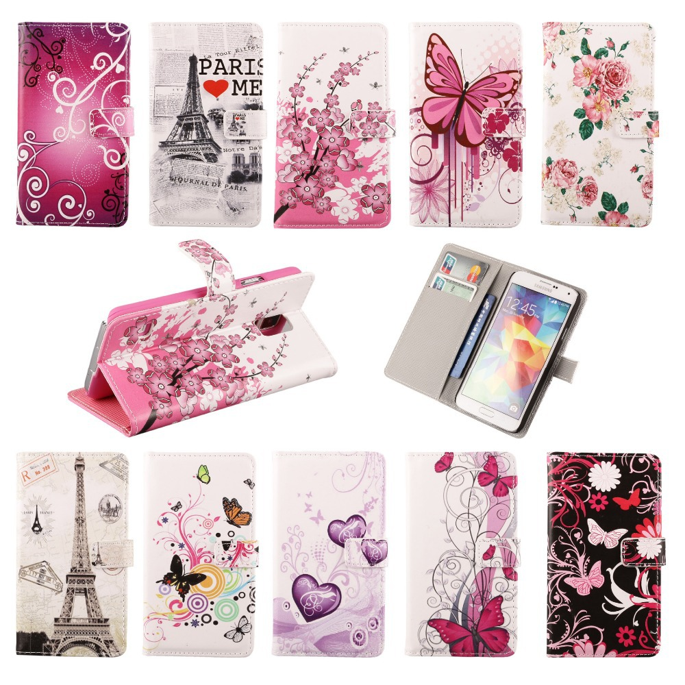 Premium Eiffel Tower Flower Butterfly Heart Stand Flip Leather Wallet Pouch Case Cover For Samsung Galaxy S5 i9600 Free Shipping(China (Mainland))