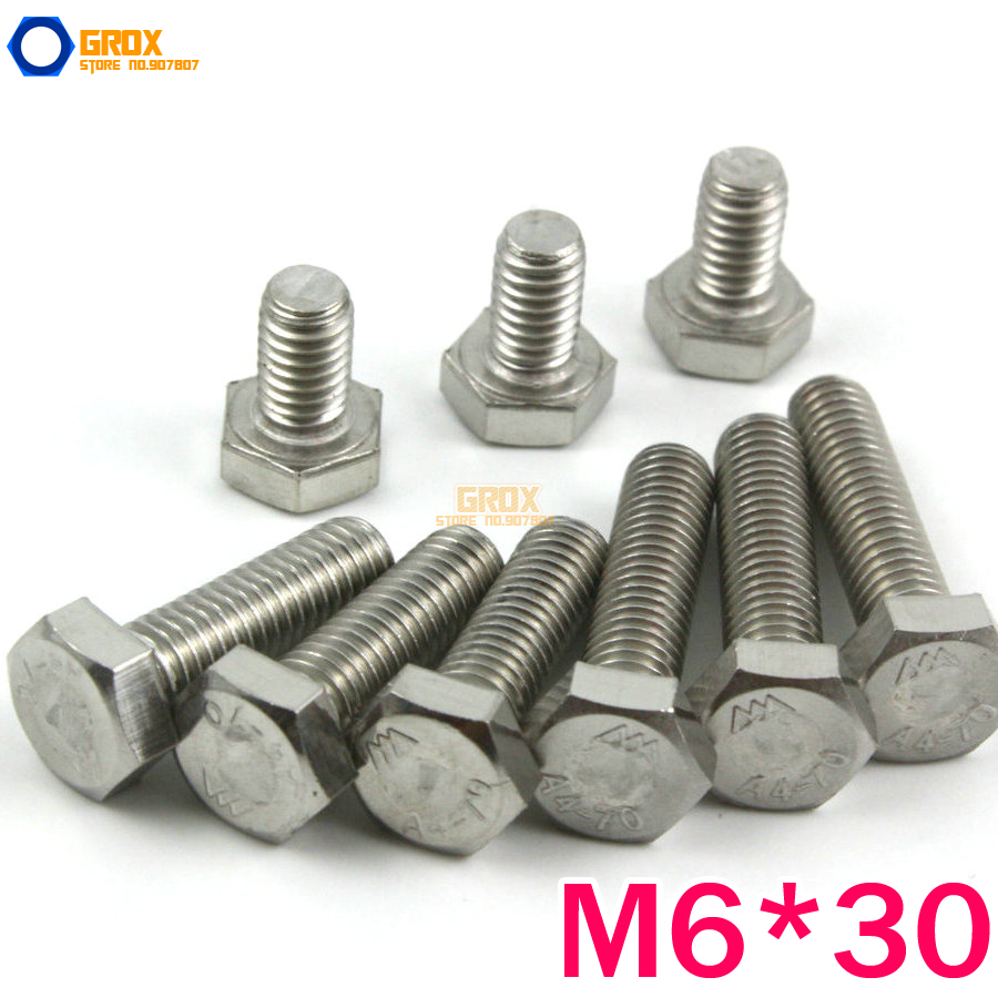 25 Pcs M6*30mm 316 Stainless Steel Hexagon Head Bolt Set Screw Marine Grade(China (Mainland))