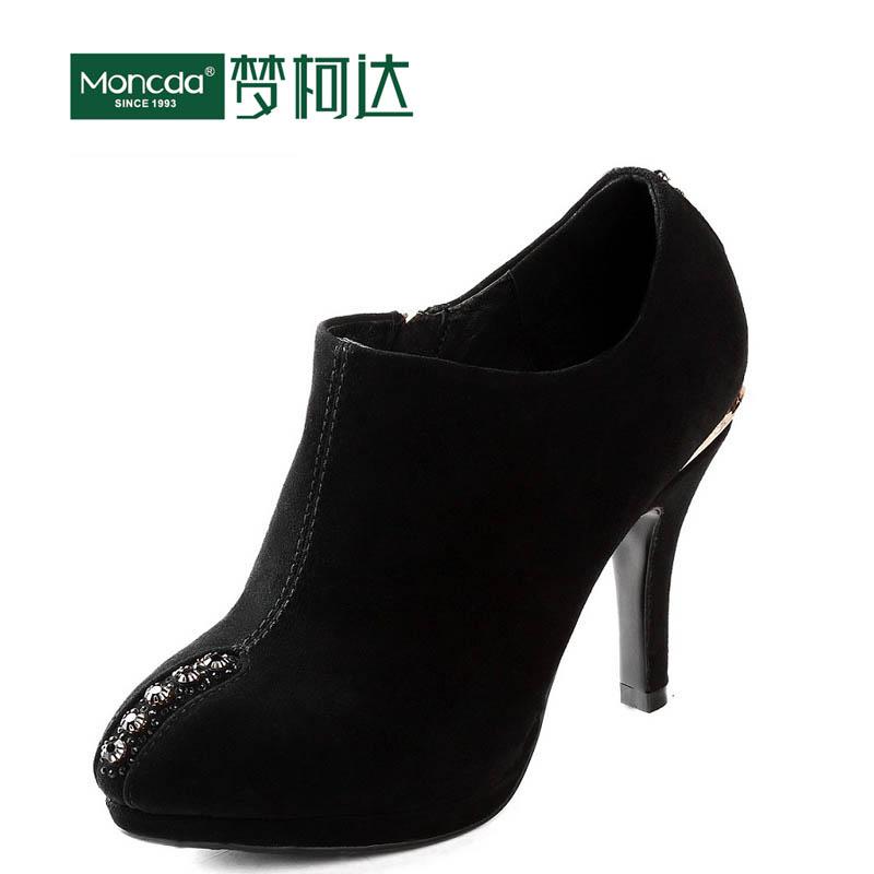 Autumn genuine leather shoes popular zipper ultra high heels fashion gentlewomen female high-heeled - Future idear store