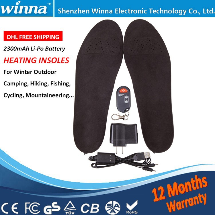 2300mAh Wireless Winter Electric Heated Insole with Remote type 41-46 Large Size Material EVA Solid Black(China (Mainland))