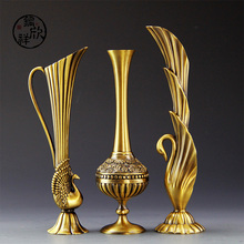 European retro peacock vase hot metal alloy gold plated small vase  modern table linens Creative Home Decorations(China (Mainland))