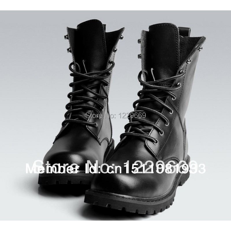 US Size 5-11 New Black Real Cow Leather Lace Men's Combat Army Military Ankle Boots Shoes - Fulinken store