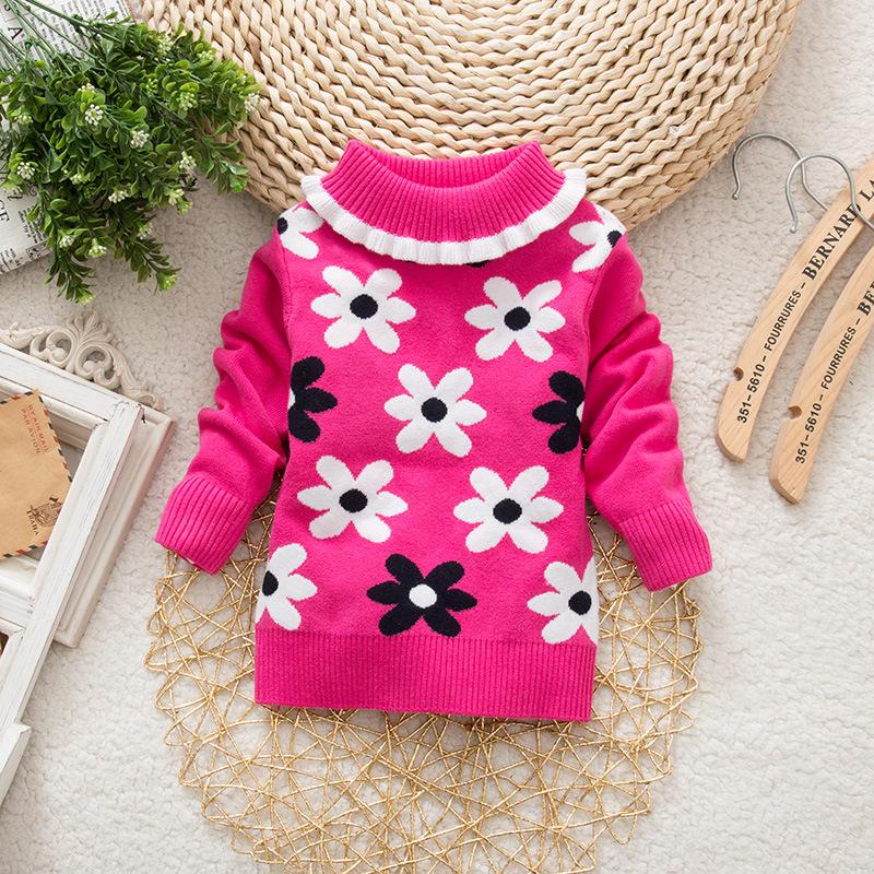 Spring Autumn Baby Sweaters Flower Print Baby Girls Sweater Kids Turtleneck Sweater Children Clothing
