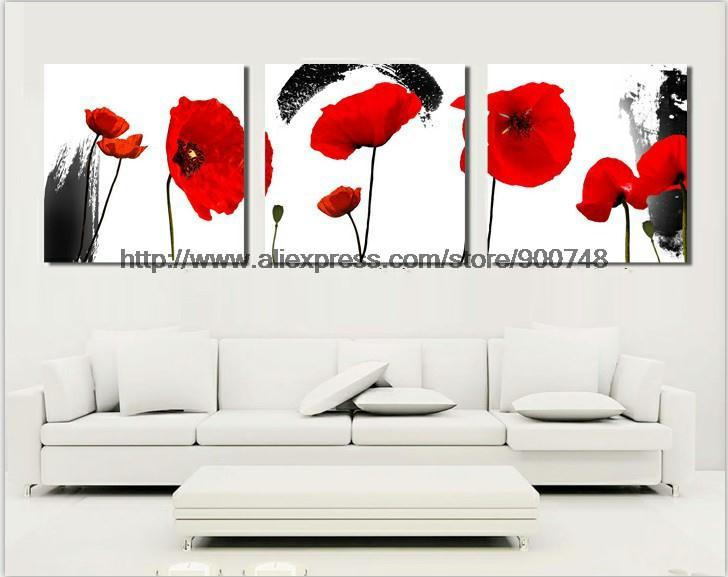 3 Panels Free Shipping Oil Painting Combination Modern Canvas Paint Flower Art Wall Hanging Beauty On Canvas Painting Glass(China (Mainland))