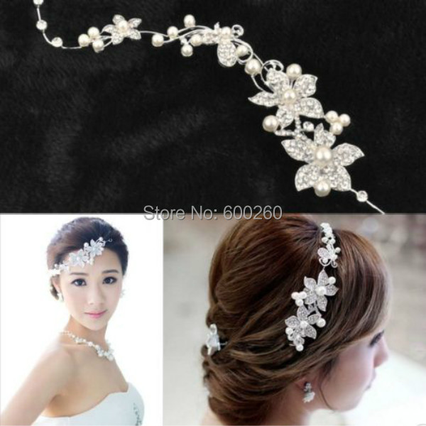 2015 new Hot Sell Luxury Silver Rhinestone Bridal Wedding Flower Pearls Headband Hair Clip Comb Women Jewelry Free Shipping(China (Mainland))