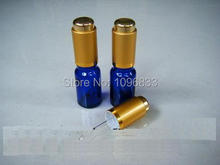 5ML Essential Oil Vial, Glass Dropper Bottle, Blue Vials, Blue Bottle away from light Aluminium press Pump Golden Color 50pcs