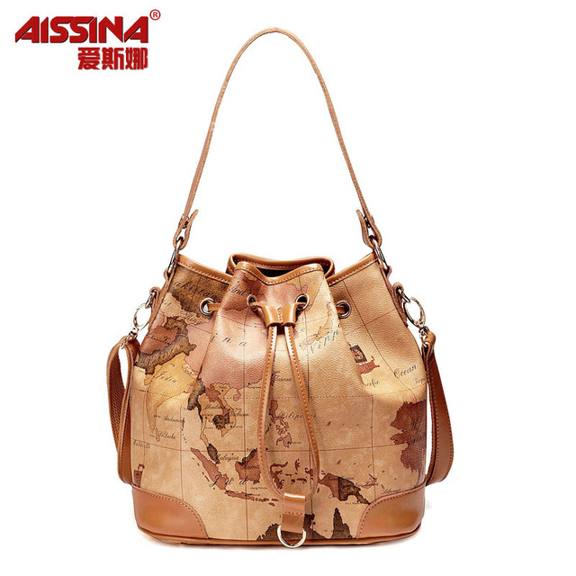 2012 autumn women's bags fashion map bag drawstring bucket bag messenger bag