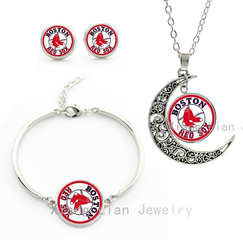 League Baseball sport case for Boston Red Sox team charm bracelet earrings necklace set handmade fashion women jewelry sets M33(China (Mainland))