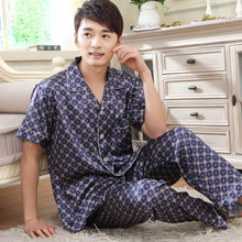 Men imitated silk turn-down collar short sleeves pajamas sets,gentlmen boys blue grey 5 colors print  pyjamas,L-3XL NBHD G-056D(China (Mainland))