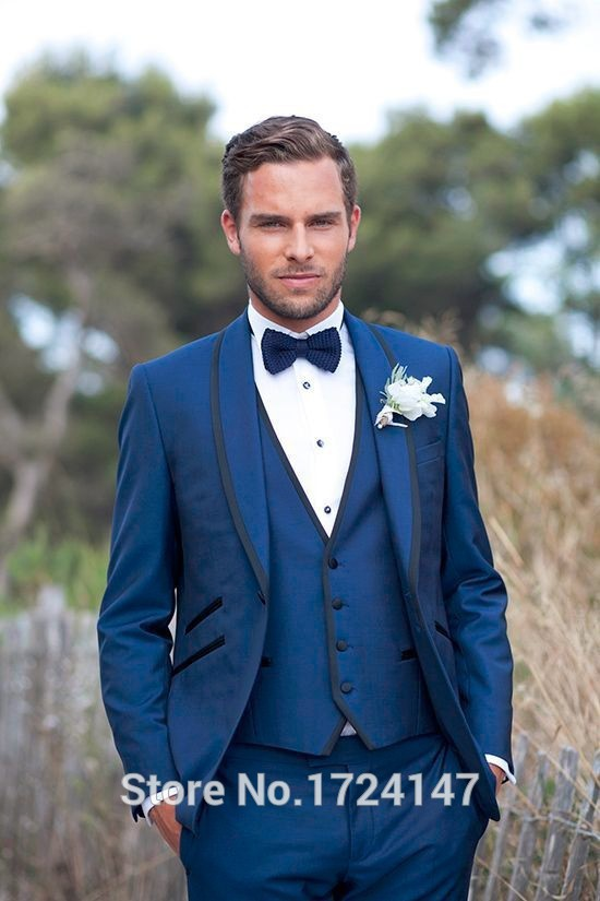 2015 New tailored navy blue super wool wedding suits tuxedos mens 3 pieces Best man's - Men Suits Shopping Mall-Custom Made store