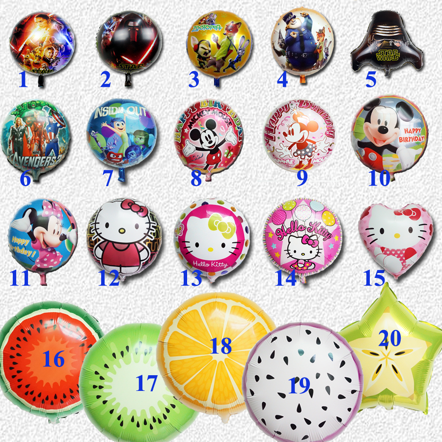 2016 foil balloons star wars mickey minnie hello kitty zootopia avengers inside out balloon for birthday children balloons(China (Mainland))