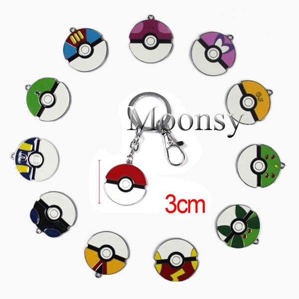 Pokemon Ash Poke Ball Master ball Zinc Alloy Metal Pendants Charms Classic Cosplay toy keychain key ring 12stles - Moonsytoy store
