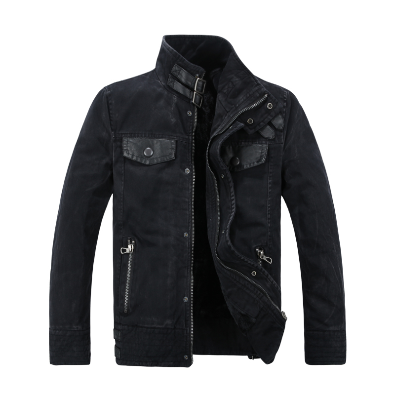 Male denim outerwear cool leather denim coat thickening plus velvet water wash denim jacket