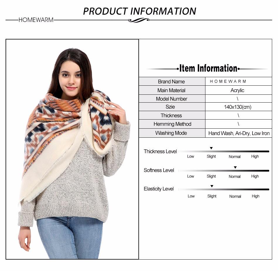 Fashion Square Scarf Women Geometry Printed Winter Warm Female Trendy Ashmere Shawls Foulard Femme Hiver Blanket Cotton Scarves