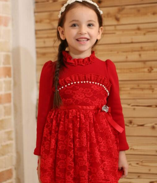 Wholesale Fall and Winter Fashion Children Fleece Princess Dress Little Girls Thickening Lace Dress Kids Thick Dress Red White<br><br>Aliexpress