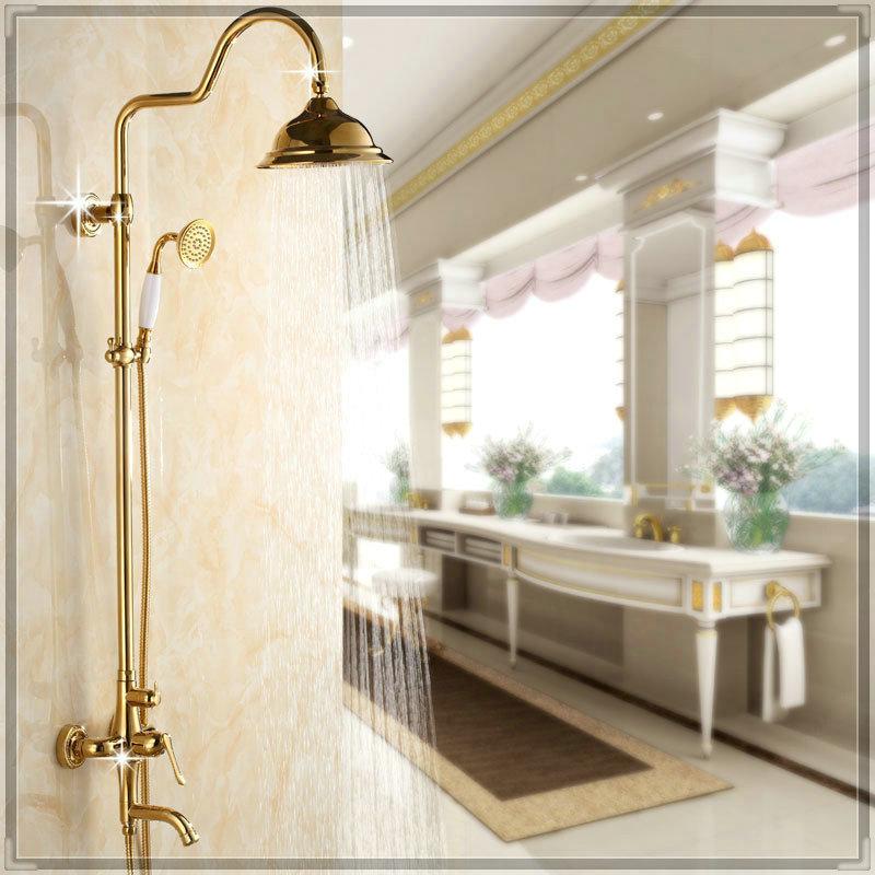 factory tap Set 3 features gilded rainshower shower head copper bathroom faucets aparelhos para banheiro(China (Mainland))