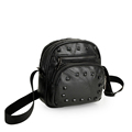 Trendy Sheepskin Patchwork Handbag Women Fashion Rivets Black Shoulder Bag Solid Color Casual Crossbody
