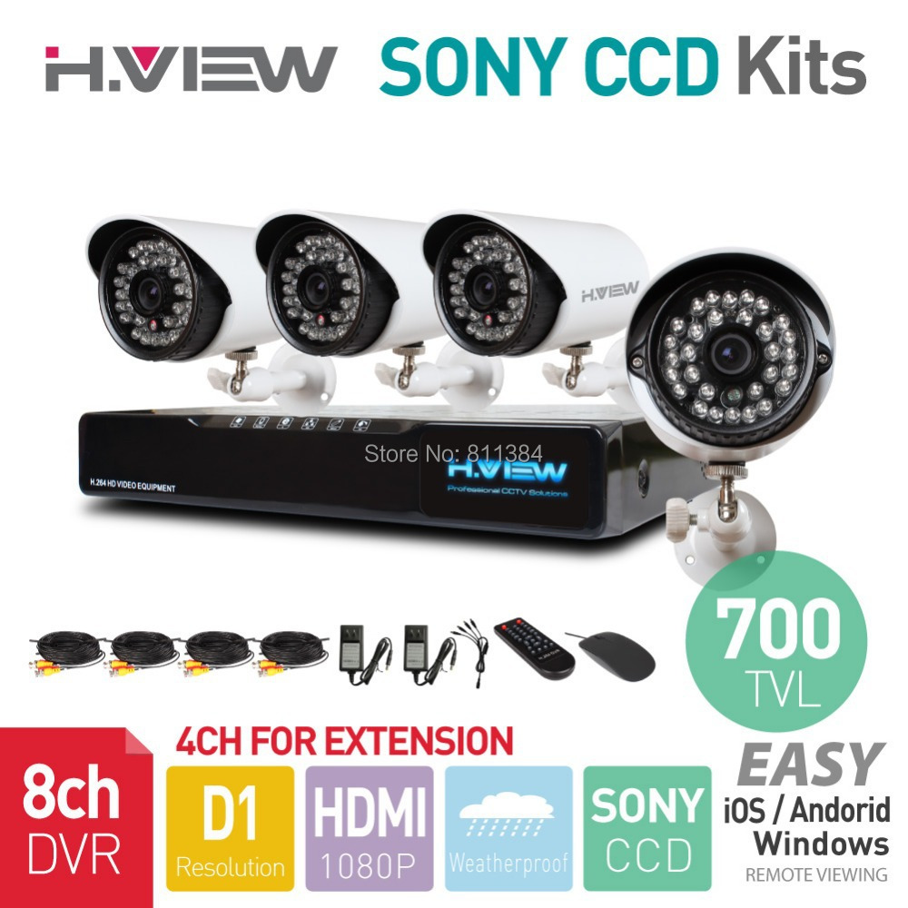 8CH Full D1 HDMI DVR 4PCS SONY CCD 700TVL IR Outdoor Weatherproof CCTV Camera 24 LEDs Home Security System Surveillance Kits<br><br>Aliexpress