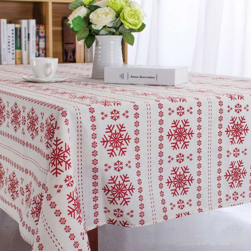Christmas Snowflake Design Cotton Linen Tablecloth Printed Table Cover Customization Any Size Table Cloth Manteles De Navidad CT(China (Mainland))