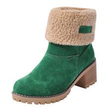 SAGACE Schuhe Frauen Flock Stiefeletten Warme Herbst Winter Schuhe Solide Romon Mitte 3cm Ferse Hohe Martin casual Haarigen seite Stiefel(China)