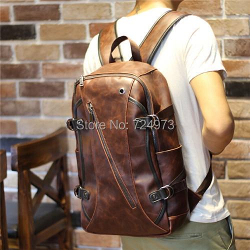 korean harajuku PU crazy horse leather unisex men's backpacks mochila feminina women rucksack laptop travel bags - Lotus Warehouse store