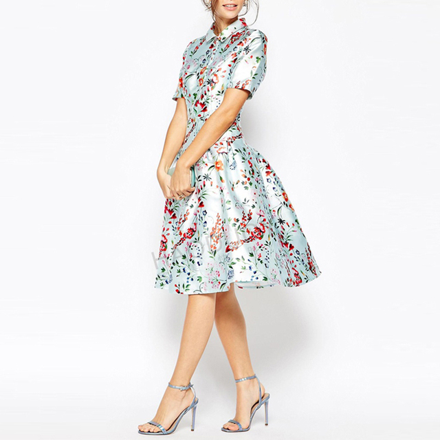 New Fashion Women A-Line Pleated Vestido Vintage Elegant Floral Print Slim Knee-Length  Shirt Dress