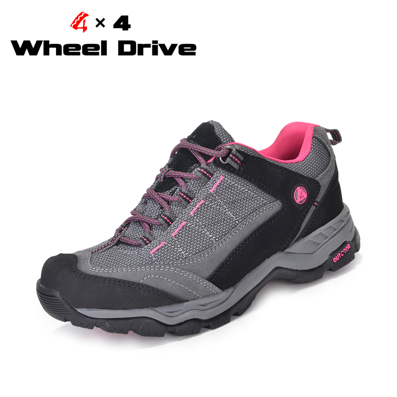 4X4 Wheel Drive Women High Quality Outdoor Waterproof Shoes Hiking Shoes Fashion Breathable Shock Absorption Shoes Free Shipping(China (Mainland))