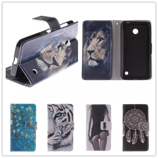 Luxury Cartoon Tiger Flip Wallet PU Leather Case Cover Nokia Lumia 630 635 N630 N635 Phone stand Card Holder - Shenzhen SmallTimes Store store