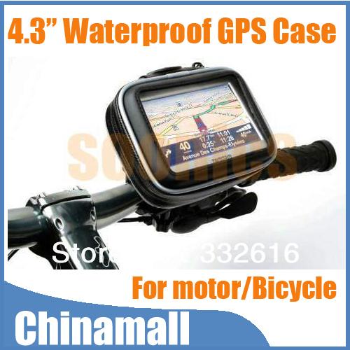 "Waterproof Motorcycle Bicycle Bike Mount Holder Case Bag Pouch for 4.3"" Garmin TomTom Magellan GPS Free Shipping & Drop Shipment"
