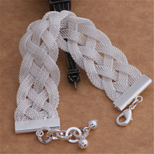 silver plated  vintage mesh weave bracelets new listings high quality fashion jewelry Christmas gifts(China (Mainland))