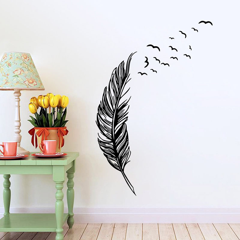 Elegant Flying Feather Wall Sticker Home Decor Adesivo De Parede Home Decoration Wallpaper Vinyls Decal Living Room Decor Art(China (Mainland))