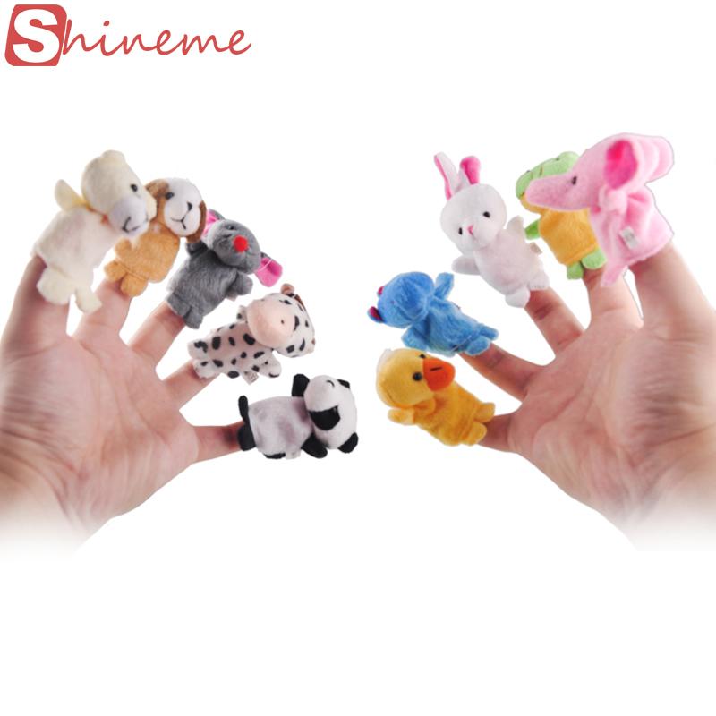 10 pcs/lot christmas mini plush baby toy animal family finger puppets set fish australia princess bug boys girls finger puppets(China (Mainland))