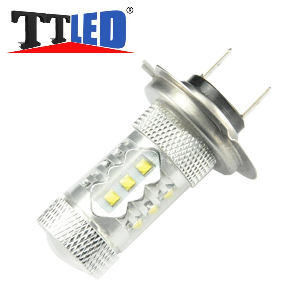 H7 LED 6000K 12V 80W LED lens Super Strong White Fog Lights Tail Driving DRL daytime running Car styling Light Lamp Bulb(China (Mainland))