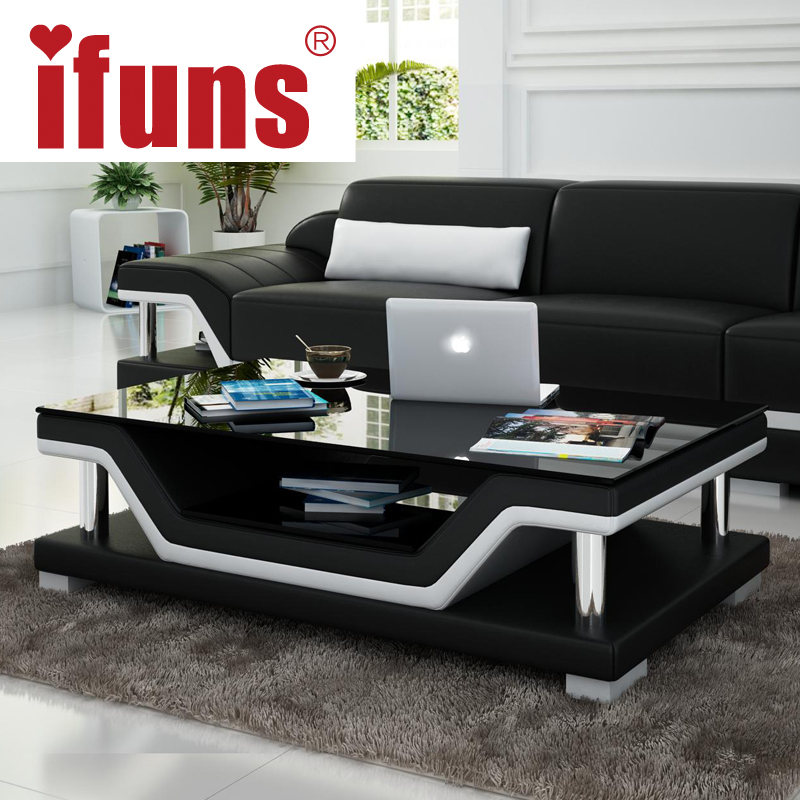 IFUNS Simple Modern Fashion Glass Coffee Table Leather Cover Tea Table For Li