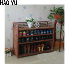 Large capacity grass rattan woven shoe rack six color saving cabinet A-150(China (Mainland))